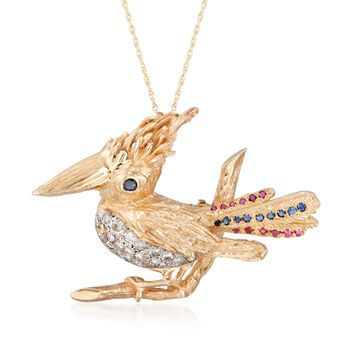 """C. 1970 Vintage 1.45 ct. t.w. Multi-Stone Bird Pin Pendant Necklace in 14kt Yellow Gold. 18"""", , default"""