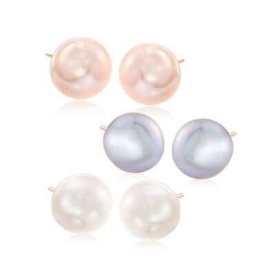 10-11mm Multicolored Cultured Pearl Jewelry Set: Three Pairs of Stud Earrings in 14kt Yellow Gold, , default