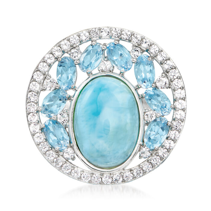 Larimar and 3.60 ct. t.w. Blue and White Topaz Ring in Sterling Silver