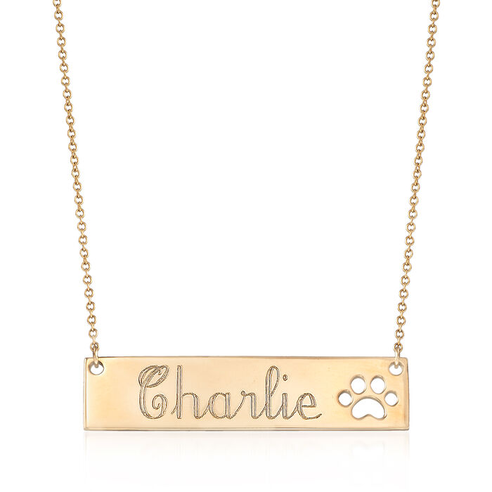 Personalized Bar Necklace with Paw Print in 14kt Yellow Gold, , default