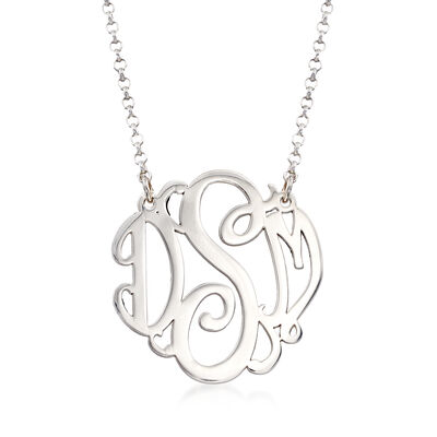 Sterling Silver Medium Script Monogram Necklace, , default