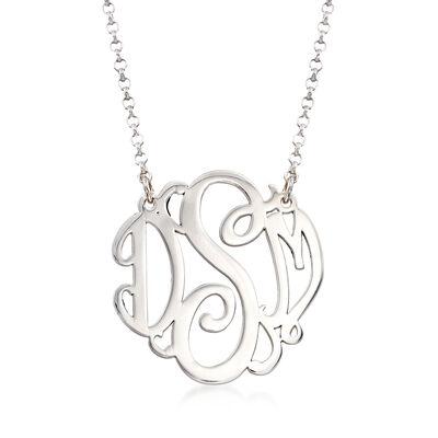Sterling Silver Medium Script Monogram Necklace, , default
