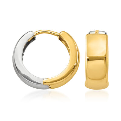 14kt Two-Tone Gold Hoop Earrings, , default