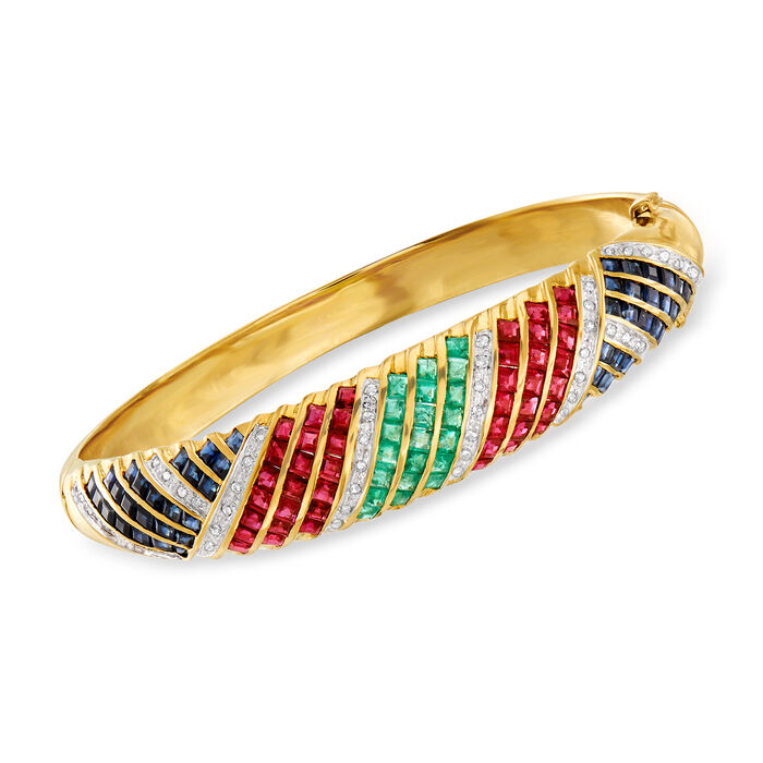 """C. 1980 Vintage 10.65 ct. t.w. Multi-Gemstone and .50 ct. t.w. Diamond Bangle Bracelet in 14kt Yellow Gold. 7"""""""