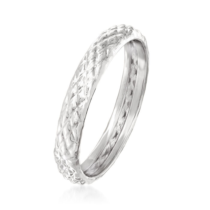18kt White Gold Quilted Textured Ring