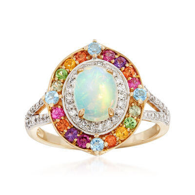 Ethiopian Opal, 1.25 ct. t.w. Multi-Gemstone and .25 ct. t.w. Diamond Ring in 14kt Yellow Gold, , default