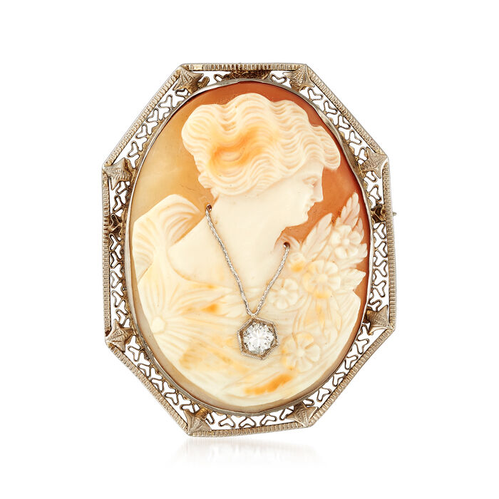 C. 1950 Vintage Pink Shell Cameo and .25 Carat Diamond Pin/Pendant in 14kt White Gold
