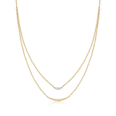 Gabriel Designs Graduated  14kt Yellow Gold Bead Double Layered Necklace with Diamond Accents, , default