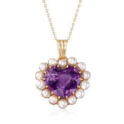 C. 1980 Vintage 24.00 Carat Amethyst and Cultured Pearl Heart Necklace in 14kt Yellow Gold, , default