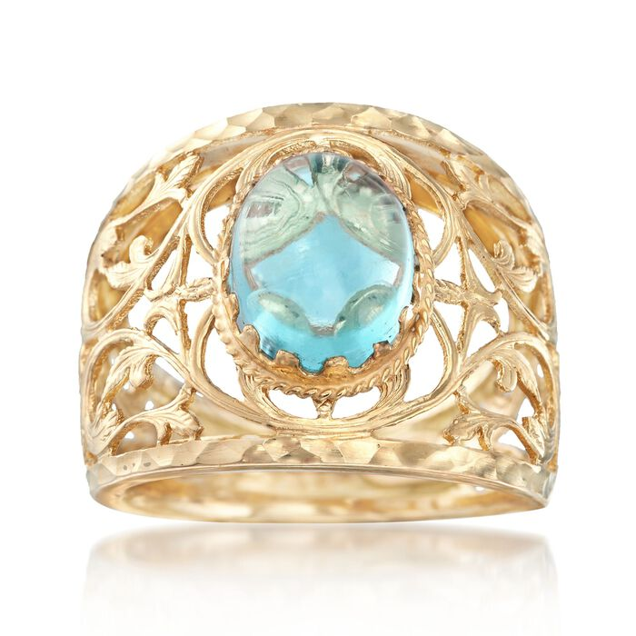 Italian 4.00 Carat Blue Topaz Openwork Vine Ring in 14kt Yellow Gold, , default