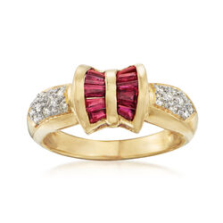 C. 1990 Vintage 1.00 ct. t.w. Ruby and .25 ct. t.w. Diamond Ring in 18kt Yellow Gold, , default