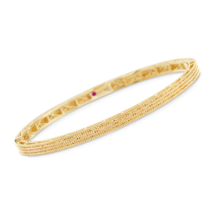 """Roberto Coin """"Symphony"""" Barocco Bangle Bracelet in 18kt Yellow Gold. 7"""", , default"""