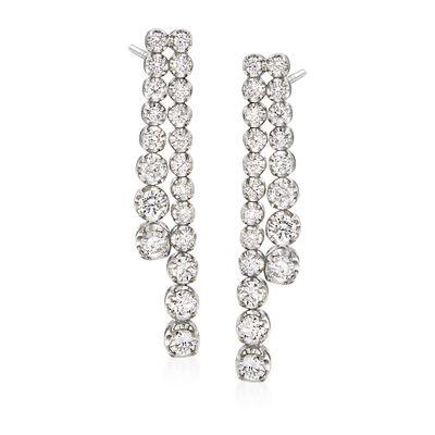 C. 1990 Vintage 2.55 ct. t.w. Diamond Drop Earrings in 18kt White Gold, , default