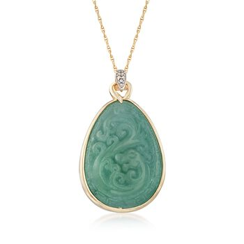"Carved Jade Pendant Necklace With Diamond Accents in 18kt Gold Over Sterling. 18"", , default"