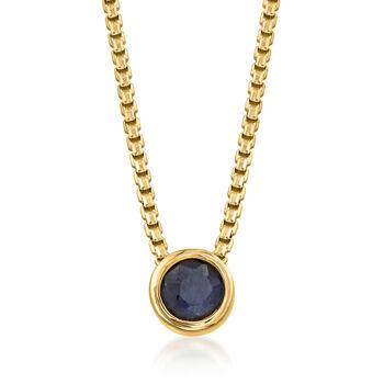 .50 Carat Bezel-Set Sapphire Adjustable Necklace in 18kt Gold Over Sterling, , default