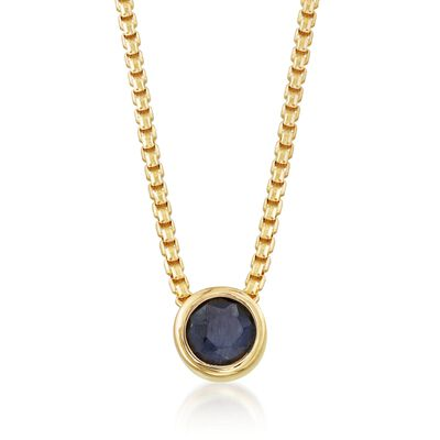 .50 Carat Bezel-Set Sapphire Adjustable Necklace in 18kt Gold Over Sterling, , default