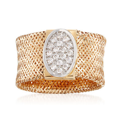 Italian .15 ct. t.w. CZ Mesh Stretch Ring in 14kt Yellow Gold, , default