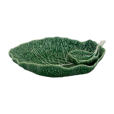 "Bordallo Pinheiro ""Cabbage"" Leaf Chip and Dip Set, , default"
