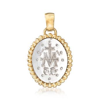 Italian 14kt Two-Tone Gold Miraculous Medal Pendant, , default