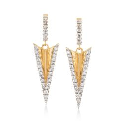 .31 ct. t.w. Diamond Arrow Drop Earrings in 14kt Yellow Gold, , default