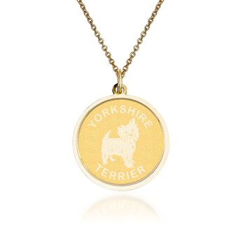 "14kt Yellow Gold Yorkshire Terrier Pendant Necklace. 18"", , default"