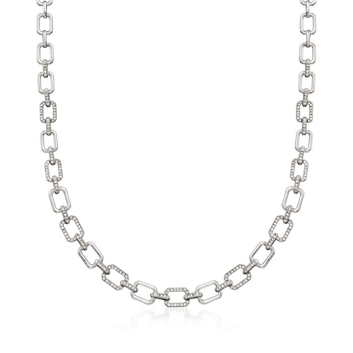 1.00 ct. t.w. Diamond Link Necklace in Sterling Silver