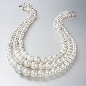 6-12mm Shell Pearl Graduated Three-Strand Necklace with Sterling Silver. 18""