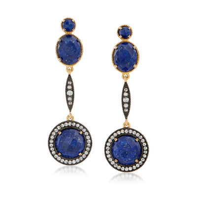 Lapis and 1.00 ct. t.w. White Zircon Drop Earrings with Labradorite in 18kt Gold Over Sterling, , default