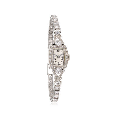 C. 1950 Vintage Hamilton Women's 2.50 ct. t.w. Diamond 13mm Watch in Platinum, , default