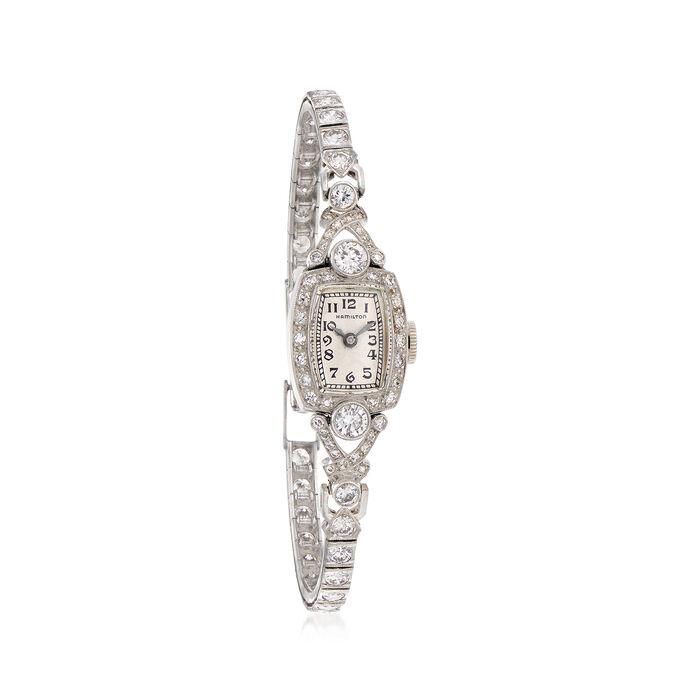 C. 1950 Vintage Hamilton Women's 2.50 ct. t.w. Diamond 13mm Watch in Platinum. Size 6.5, , default