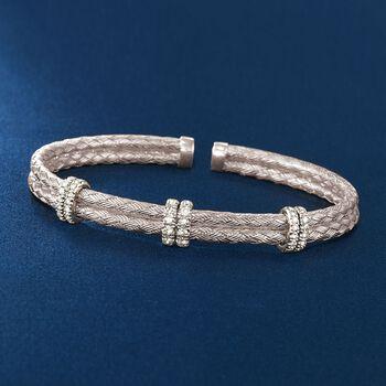 """.50 ct. t.w. Diamond Basketweave Cuff Bracelet in Sterling Silver. 7"""""""