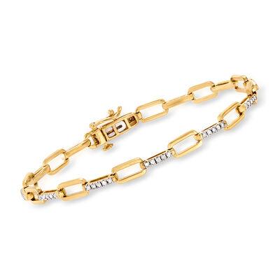 .50 ct. t.w. Diamond Link Bracelet in 18kt Gold Over Sterling