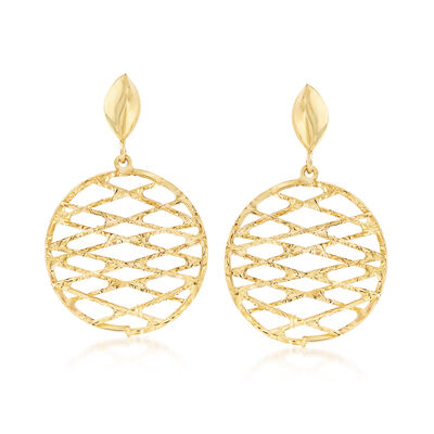 Italian 18kt Yellow Gold Crisscrossed Circle Drop Earrings, , default
