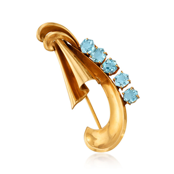 C. 1950 Vintage 4.25 ct. t.w. Aquamarine Pin in 14kt Yellow Gold