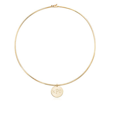 14kt Yellow Gold Omega Necklace with Engravable Disc Pendant, , default