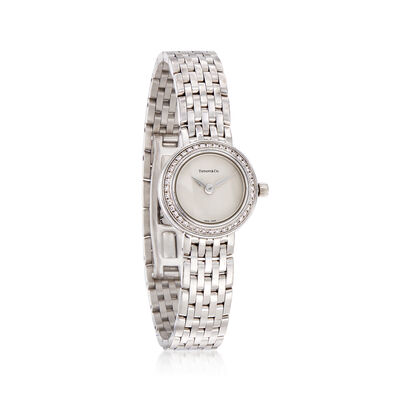 C. 1990 Vintage Tiffany Jewelry Women's .35 ct. t.w. Diamond Watch in 18kt White Gold, , default