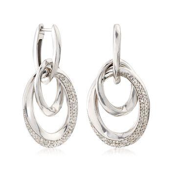 .50 ct. t.w. Diamond Twisted Doorknocker Link Earrings in Sterling Silver, , default