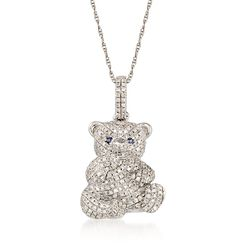 .35 ct. t.w. Diamond Teddy Bear Pendant Necklace in 14kt White Gold, , default