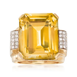 19.00 Carat Citrine and .45 ct. t.w. Diamond Ring in 14kt Yellow Gold, , default