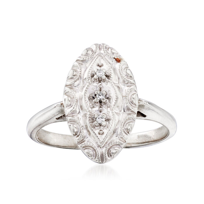 C. 1950 Vintage 10kt White Gold Navette Ring with Diamond Accents. Size 5