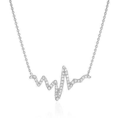 .25 ct. t.w. CZ Heartbeat Necklace in 14kt White Gold, , default