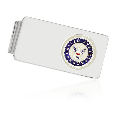 Sterling Silver U.S Navy Enameled Engravable Money Clip, , default