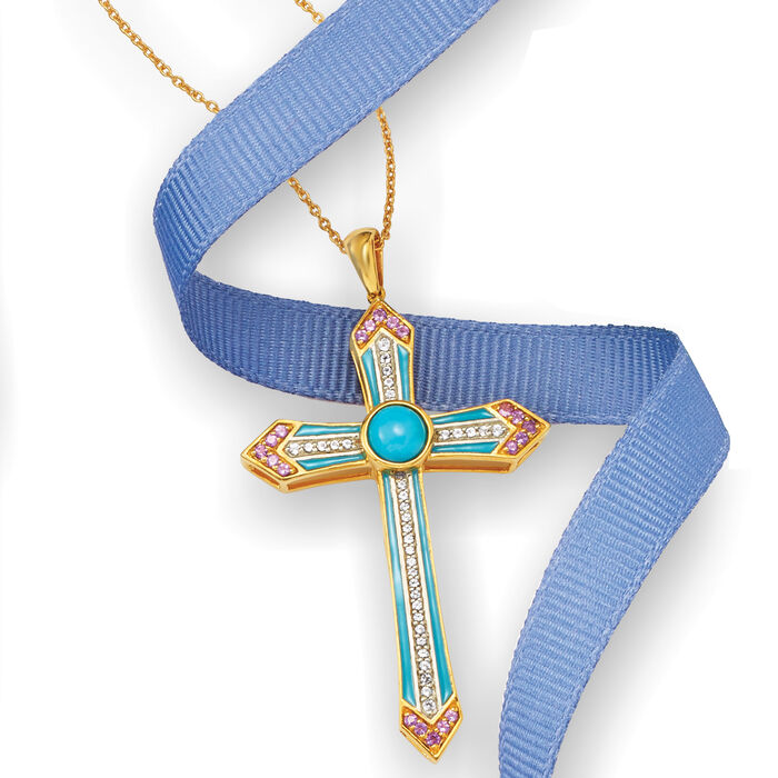 Turquoise, .30 ct. t.w. Amethyst and .30 ct. t.w. White Topaz Cross Pendant Necklace with Enamel in 18kt Gold Over Sterling