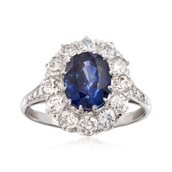 C. 1990 Vintage 2.55 Carat Sapphire and 1.49 ct. t.w. Diamond Ring in 18kt White Gold. Size 7, , default