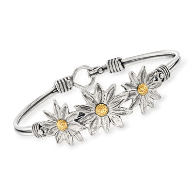 Sterling Silver with 14kt Yellow Gold Flower Bangle Bracelet