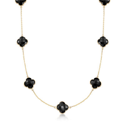 Black Onyx Clover Necklace in 14kt Yellow Gold, , default
