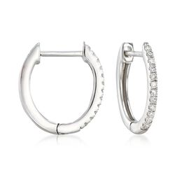 ".10 ct. t.w. Diamond Huggie Hoop Earrings in 14kt White Gold. 3/8"", , default"
