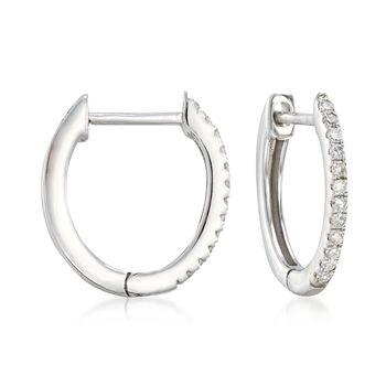 ".10 ct. t.w. Diamond Huggie Hoop Earrings in 14kt White Gold. 3/8"", , default"