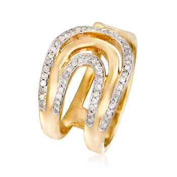 .28 ct. t.w. Diamond Bypass-Style Ring in 18kt Yellow Gold Over Sterling Silver, , default