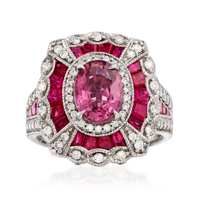 1.50 Carat Pink Sapphire and 2.80 ct. t.w. Ruby with .57 ct. t.w. Diamond Ring in 14kt White Gold, , default